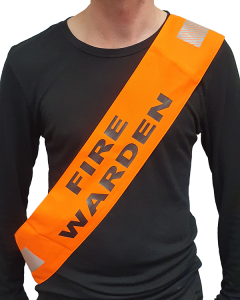 Fire Warden Sash with Velcro - Hi Vis Orange