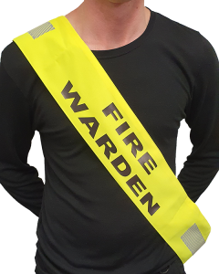Fire Warden Sash with Velcro - Hi Vis Yellow