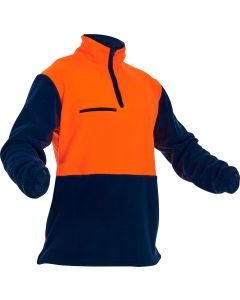 Caution Hi-Vis D/O Polar Fleece 1/2 Zip Tunic - 380gsm Orange/Navy