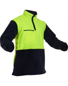 Caution Hi-Vis D/O Polar Fleece 1/2 Zip Tunic - 380gsm Yellow/Black