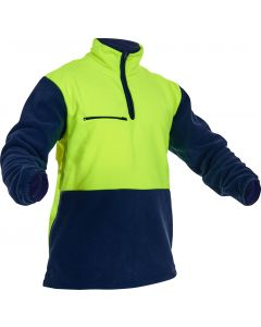 Caution Hi-Vis D/O Polar Fleece 1/2 Zip Tunic - 380gsm Yellow/Navy