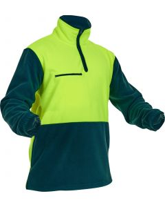 Caution Hi-Vis D/O Polar Fleece 1/2 Zip Tunic - 380gsm Yellow/Spruce