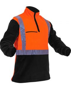 Caution Hi-Vis D/N Polar Fleece 1/2 Zip Tunic - 380gsm Orange/Black