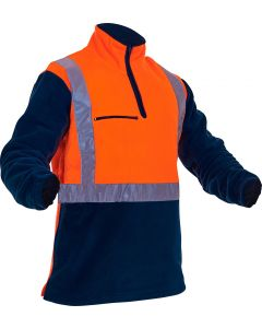 Caution Hi-Vis D/N Polar Fleece 1/2 Zip Tunic - 380gsm Orange/Navy