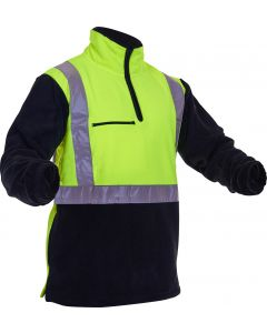 Caution Hi-Vis D/N Polar Fleece 1/2 Zip Tunic - 380gsm Yellow/Black