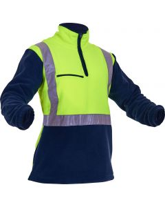 Caution Hi-Vis D/N Polar Fleece 1/2 Zip Tunic - 380gsm Yellow/Navy