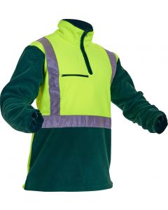 Caution Hi-Vis D/N Polar Fleece 1/2 Zip Tunic - 380gsm Yellow/Spruce