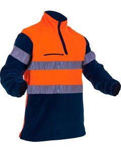 Caution Hi-Vis D/N Hoop Tape Polar Fleece 1/2 Zip Tunic - 380gsm Orange/Navy