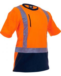 Caution Hi-Vis D/N Polar Fleece Crew Neck T-Shirt - 280gsm Orange/Navy
