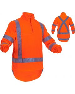 Caution Hi-Vis TTMC-W17 X-Back Polar Fleece 1/2 Zip Tunic - 380gsm