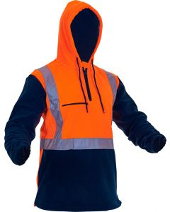 Caution Hi-Vis D/N Polar Fleece 1/2 Zip Hoodie - 380gsm Orange/Navy