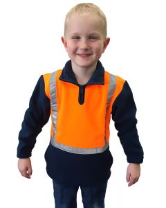 Caution Children's Hi-Vis Polar Fleece 1/2 Zip Tunic - OrangeNavy