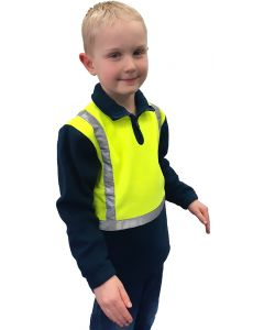 Caution Children's Hi-Vis Polar Fleece 1/2 Zip Tunic - Yellow/Navy