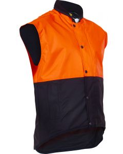 Caution Oilskin D/O Sleeveless Vest - Flouro Orange / Brown