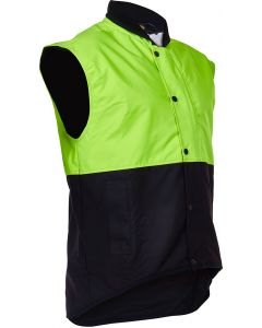 Caution Oilskin D/O Sleeveless Vest - Flouro Yellow / Brown