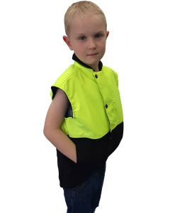 Caution Children's Hi Vis Oilskin Sleeveless Vest - Yellow / Brown