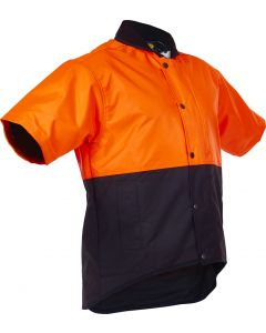 Caution Oilskin D/O Short Sleeve Vest - Flouro Orange / Brown