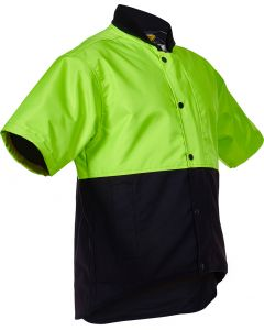 Caution Oilskin D/O Short Sleeve Vest - Flouro Yellow / Brown