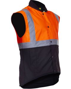 Caution Oilskin D/N Sleeveless Vest - Flouro Orange / Brown
