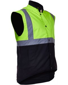 Caution Oilskin D/N Sleeveless Vest - Flouro Yellow / Brown