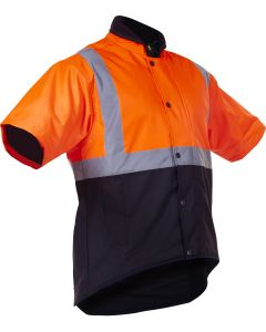 Caution Oilskin D/N Short Sleeve Vest - Flouro Orange / Brown