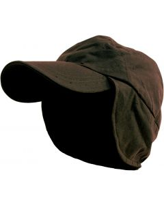 Caution Oilskin Cap with Flap - Brown