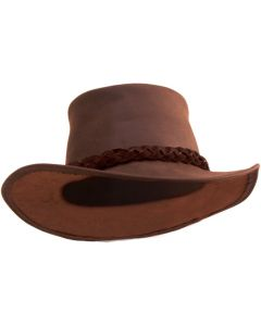 Caution Leather Hat - Brown