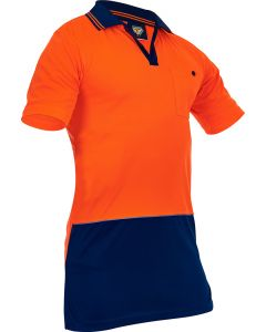 Caution Hi-Vis D/O Microfibre Polo - Orange/Navy