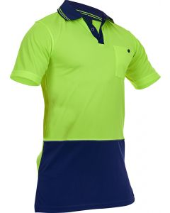 Caution Hi-Vis D/O Microfibre Polo - Yellow/Navy