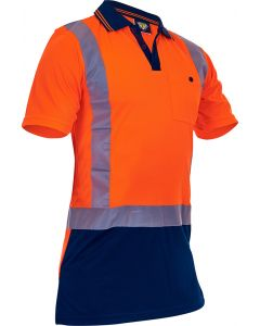 Caution Hi-Vis D/N Microfibre Polo - Orange/Navy
