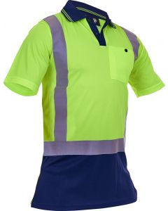 Caution Hi-Vis D/N Microfibre Polo - Yellow/Navy