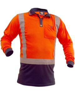 Caution Hi-Vis D/N L/S Microfibre Polo - Orange/Navy