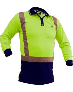 Caution Hi-Vis D/N L/S Microfibre Polo - Yellow/Navy