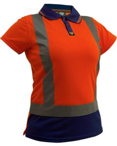 Caution Hi-Vis D/N Womens Microfibre Polo - Orange/Navy