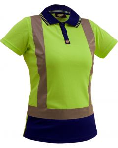 Caution Hi-Vis D/N Womens Microfibre Polo - Yellow/Navy