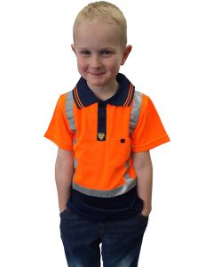 Caution Hi-Vis Childrens Microfibre Polo - Orange/Navy