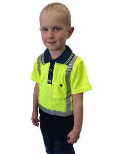 Caution Hi-Vis Childrens Microfibre Polo - Yellow/Navy
