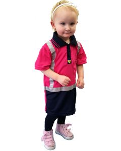 Caution Hi-Vis Childrens Microfibre Polo - Pink/Navy