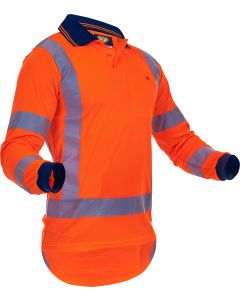 Caution Hi-Vis TTMC-W17 Long Sleeve Microfibre Polo
