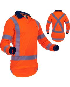 Caution Hi-Vis TTMC-W17 X-Back Long Sleeve Microfibre Polo