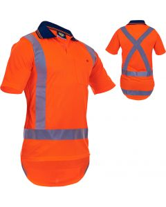 Caution Hi-Vis TTMC-W17 X-Back Short Sleeve Microfibre Polo
