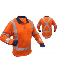 Caution Hi-Vis TTMC-W17 X-Back Long Sleeve 100% Cotton Mesh Polo