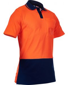 Caution Hi Vis D/O Cotton Backed Polo - Orange / Navy