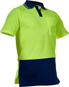 Caution Hi Vis D/O Cotton Backed Polo - Yellow / Navy
