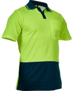 Caution Hi Vis D/O Cotton Backed Polo - Yellow / Spruce