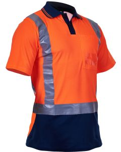 Caution Hi Vis D/N Cotton Backed Polo - Orange / Navy