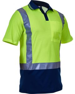 Caution Hi Vis D/N Cotton Backed Polo - Yellow/ Navy