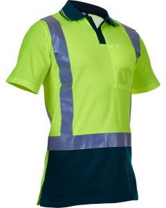 Caution Hi Vis D/N Cotton Backed Polo - Yellow / Spruce