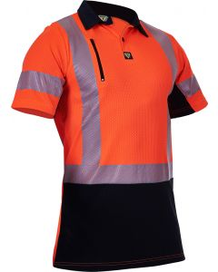 Caution Hi Vis D/N Microvent Premium Polo - Orange / Black