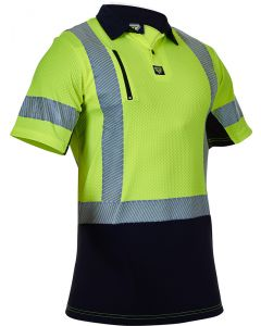 Caution Hi Vis D/N Microvent Premium Polo - Yellow / Black